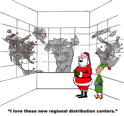 santa looks at maps with elf - i love these new regional distribution centers
