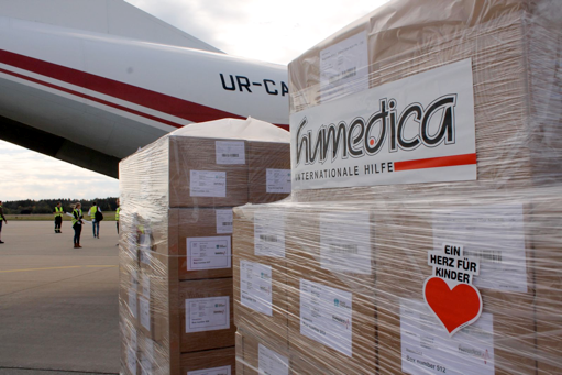 humedica packages ready to load on a plane