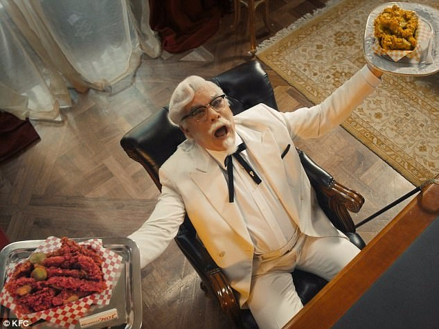 colonel sanders celebrates chicken