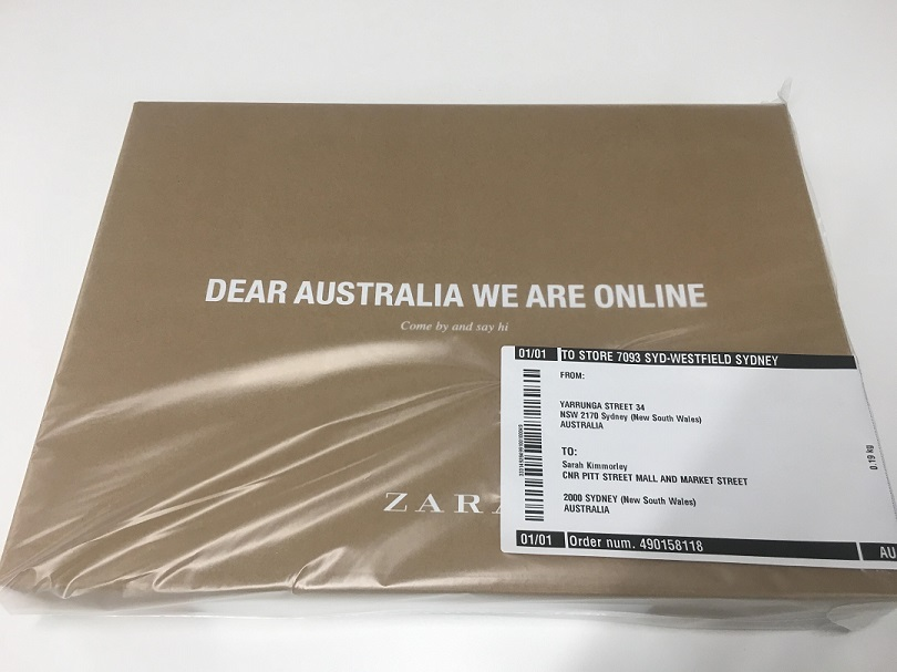 Zara package delivered from australia