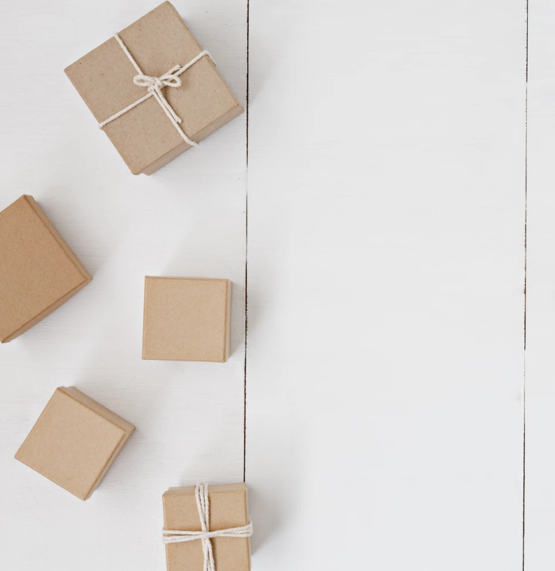 small cardboard boxes on a white background