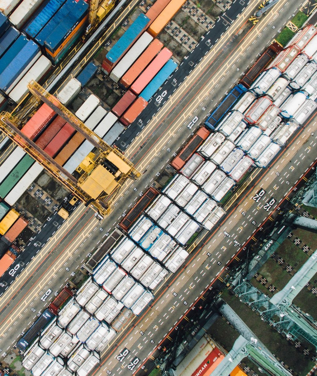 aerial view of a shipping container yard