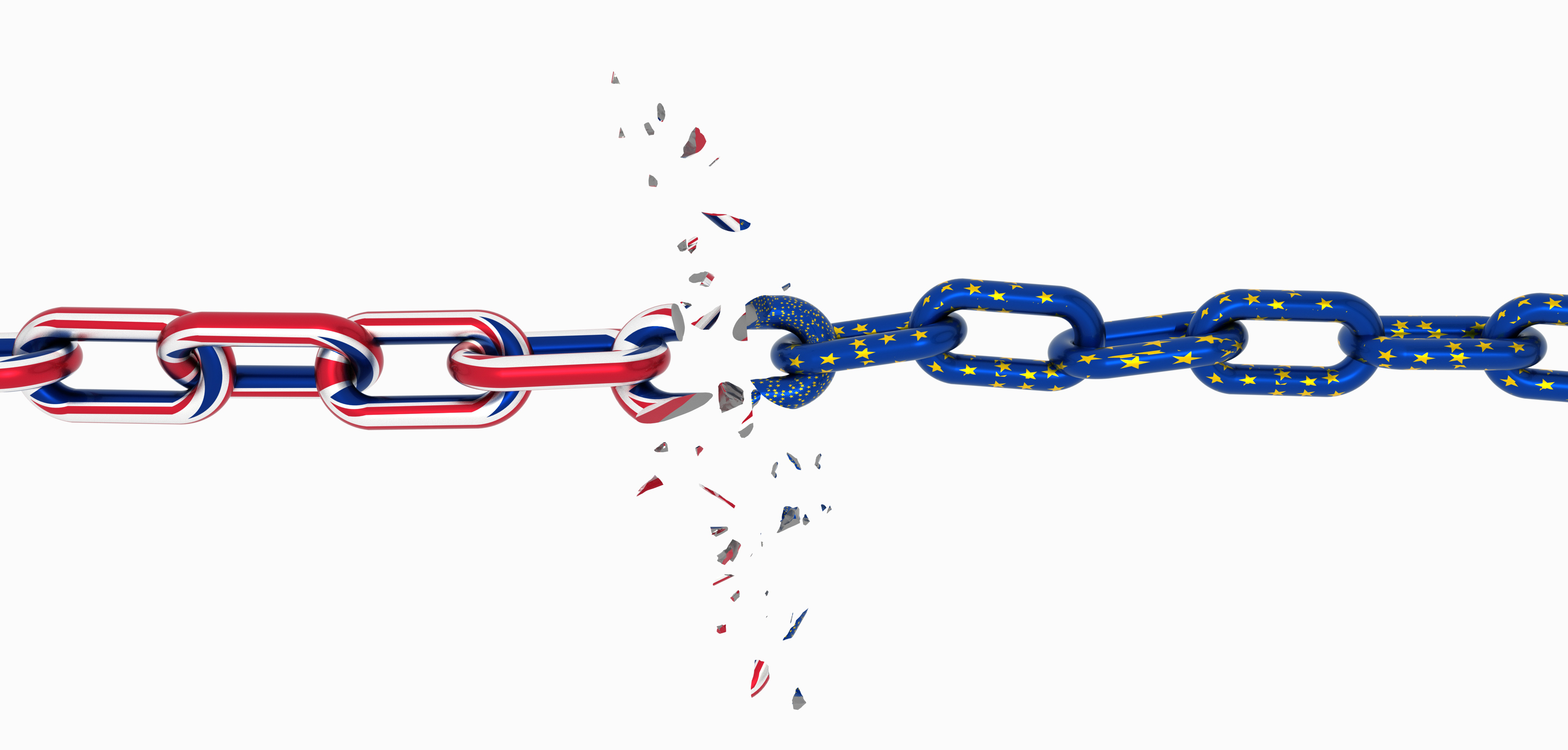 brexit europe england flag like chain broken brexit - 3d rendering