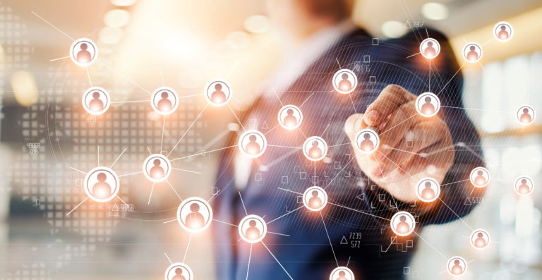 Businessman drawing global structure networking and data exchanges customer connection on office background