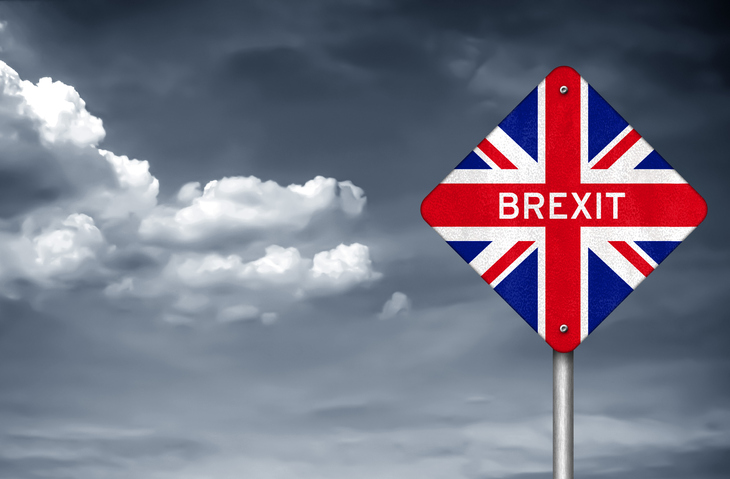 brexit sign with british flag
