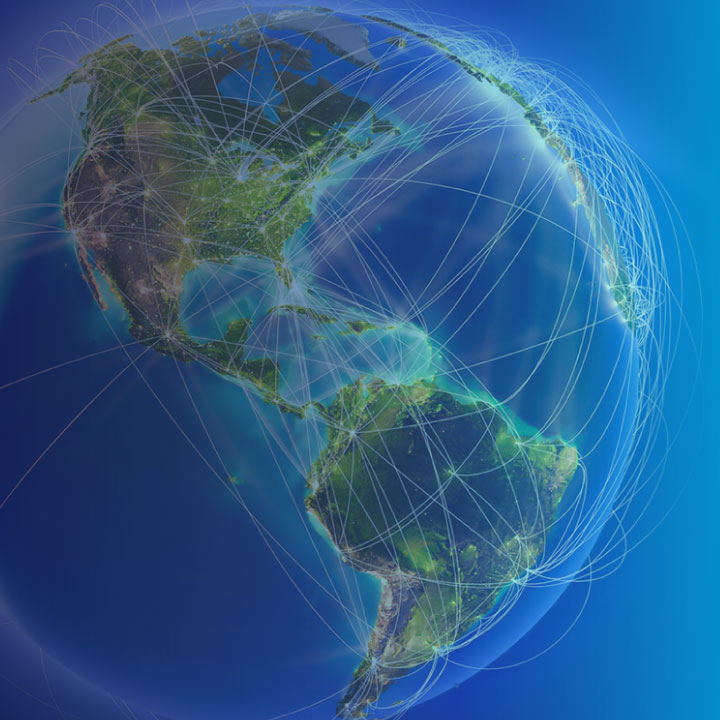 globe showing global flight paths