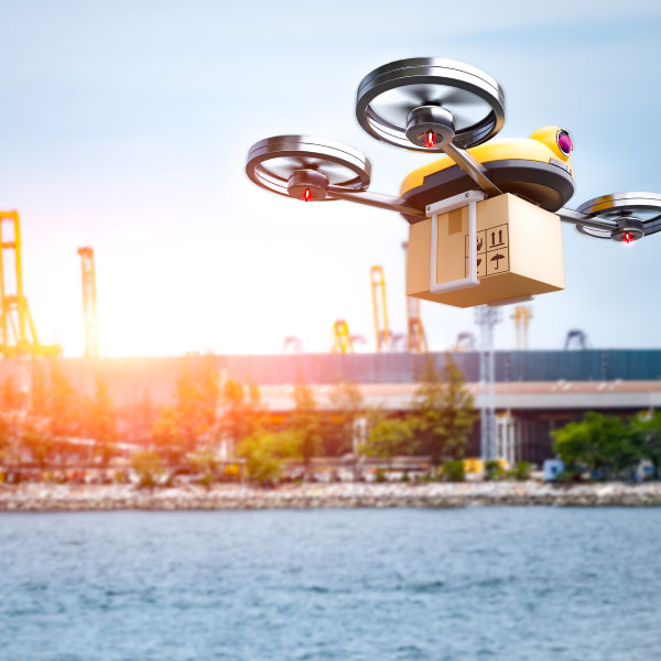 drone delivering a package