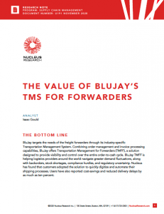 "Nucleus Research Publishes ""The Value of BluJay's TMS for Forwarders"" Report"